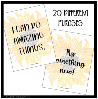 Sunflower Growth Mindset Posters - 20 posters, 2 different versions for each