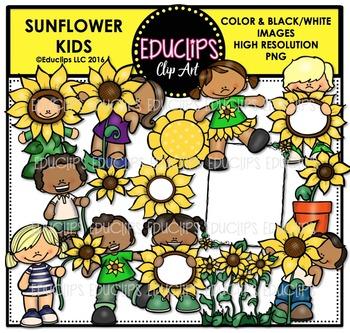Sunflower Kids Clip Art Bundle  {Educlips Clipart}
