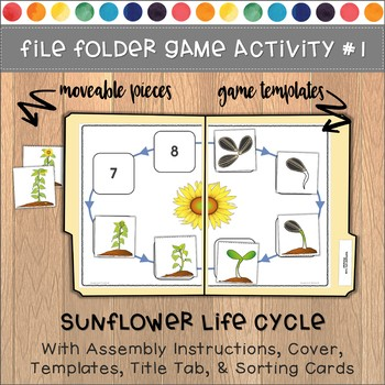 Sunflower Life Cycle File Folder Games