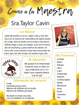 Sunflower Meet the Teacher Template Editable SPANISH AND ENGLISH