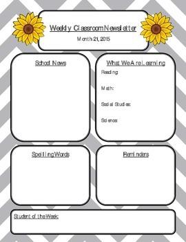 Sunflower Newsletter Editable