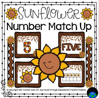 Sunflower Number Match Up Math Center