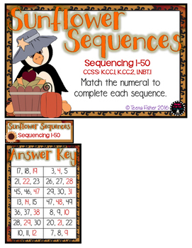 Sunflower Number Sequencing 0-50 Math Fall File Folder Game