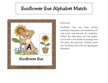Sunflower Sue Alphabet Match Literacy Center
