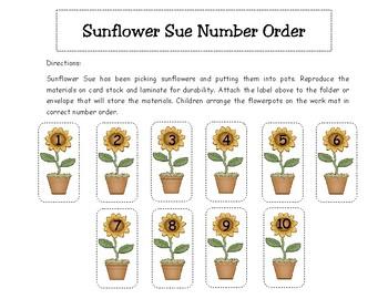 Sunflower Sue Number Order Math Center Activity