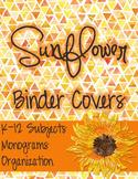 Sunflower Teacher Binder Covers: Editable