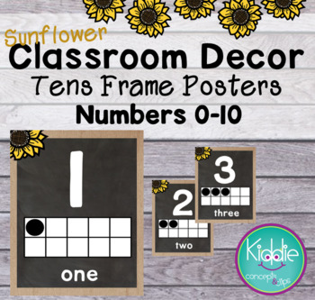 Sunflower Theme Classroom Decor Tens Frames Numbers
