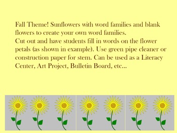 Sunflower Word Families