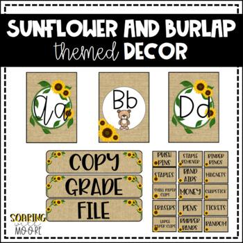 Sunflower and Burlap Themed Class Decor Bundle
