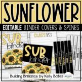 Sunflower and Shiplap Farmhouse Style Binder Covers EDITABLE