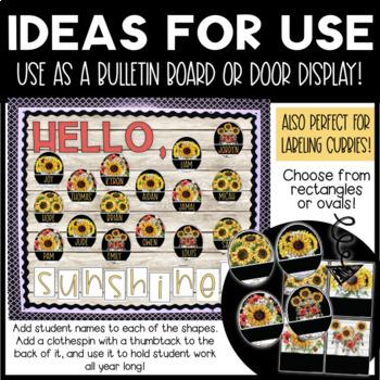 Sunflower and Shiplap Farmhouse Style Classroom Welcome Display EDITABLE