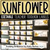 Sunflower and Shiplap Farmhouse Style Teacher Toolbox Labe