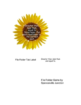 Sunflower greater than, less than, equal to file folder game