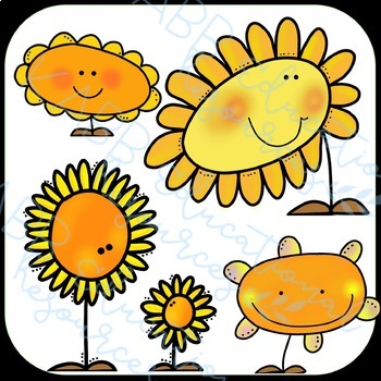 Sunflowers Clipart - color & BW!!