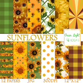 Sunflowers Digital Papers / Floral Backgrounds / Sunflowers Scrapbook Paper