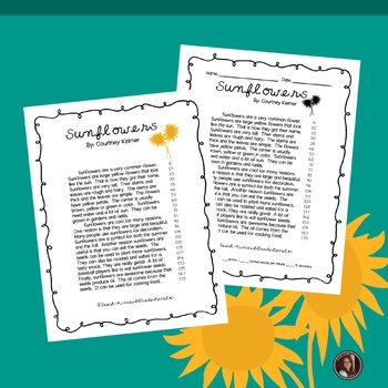 Sunflowers Fluency Passage & Comprehension Questions {Grade 4}