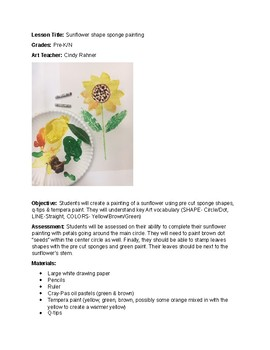 Sunflowers sponge shapes painting