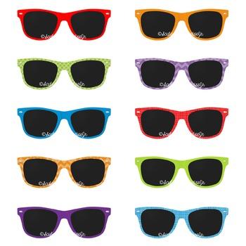 Sunglasses Clipart, Beach Clipart, Summer Clipart, 80's Sunglasses