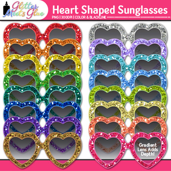 Heart Sunglasses Clip Art {Summer Beach Graphics for Bulle