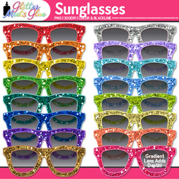 Glitter Sunglasses Clip Art {Summer Beach Graphics for Bulletin Board Ideas}