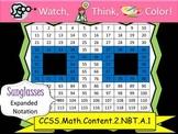 Sunglasses Expanded Notation - Watch, Think, Color! CCSS.2.NBT.A.1