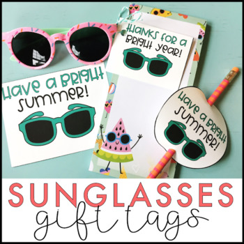 Sunglasses Gift Tags | End of the Year Gift Tags