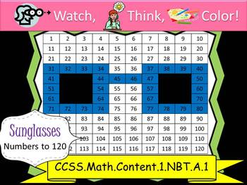 Sunglasses Hundreds Chart to 120 - Watch, Think, Color! CCSS.1.NBT.A.1