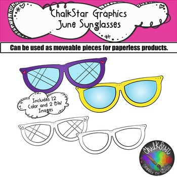 Sunglasses June Clip Art –Chalkstar Graphics