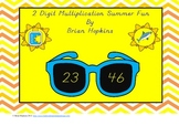 Sunglasses Themed 2 Digit by 2 Digit Multiplication Summer