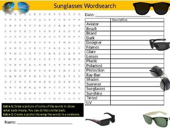Sunglasses Wordsearch Sheet Starter Activity Keywords Holidays