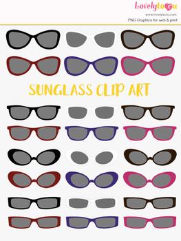 Sunglasses clipart, multi-color eye wear clip art (LC14)