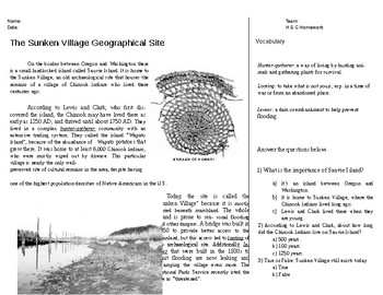 Sunken Village of the Chinook Indians - Social Studies HW