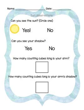 Sunlight Observation Worksheets