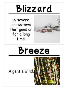 Sunlight and Weather Science Vocabulary Cards (Large)