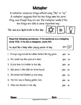 figurative language worksheets sports themed by the illustrated classroom. Black Bedroom Furniture Sets. Home Design Ideas