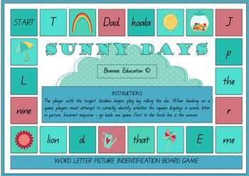 Sunny Days Board Game – Word Letter Picture Differentiaiton