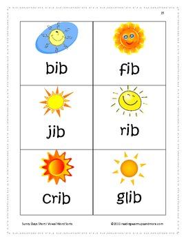 Sunny Days Short Vowel i Word Sorts -ib,-ick,-id,-iff,-ift,-ig,-ill