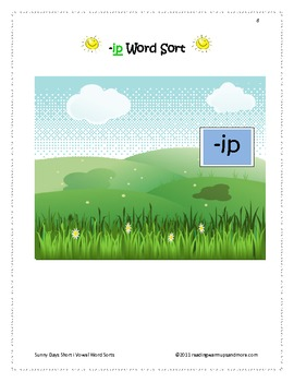 Sunny Days Short Vowel i Word Sorts -ip, -ish, -isk, -ist, -it, -itch