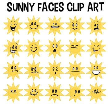 Sunny Faces Clip Art, Weather Clipart, Sunshine, Smiley, Emoticons, Laughing