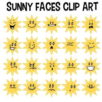 Sunny Faces Clip Art, Weather Clipart, Sunshine, Smiley, E