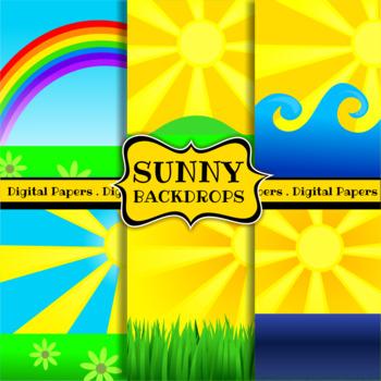 Sunny Landscape Backdrop Background Clip Art