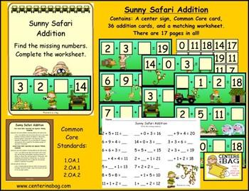 Sunny Safari Addition (1.OA.1, 2.OA.1, 2.OA.2)