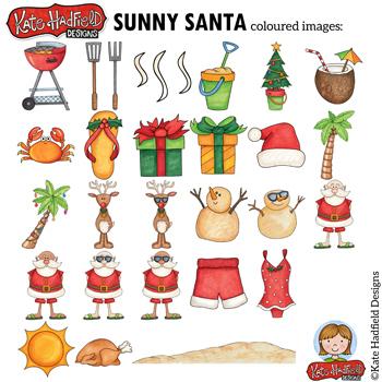 """Tropical Christmas Clip Art: """"Sunny Santa"""""""