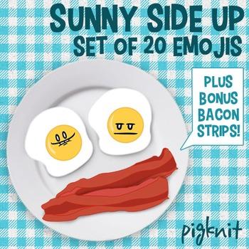 Sunny Side Up Egg Emoticon Clip Art | 20 Facial Expressions, Plus Bonus Bacon!