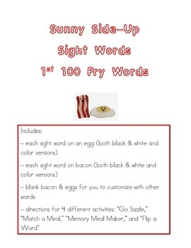 Sight Words: Fry 1st 100 Words Bacon & Eggs Activities