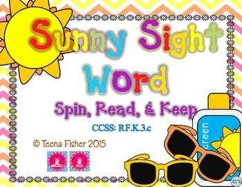 Sunny Sight Word Spin, Read, & Keep Pre-Primer Kindergarten List