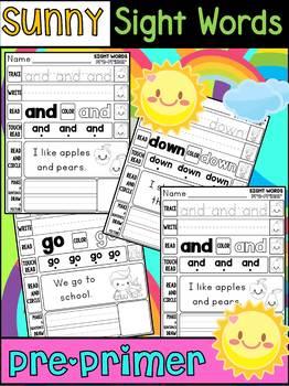 Sunny Sight Words Worksheets - Pre-Primer Edition