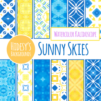 Sunny Skies - Blue and Yellow Backgrounds / Digital Papers / Clip Art Set
