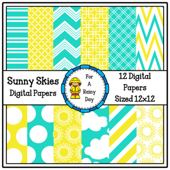Sunny Skies Digital Papers (Yellow & Blue)