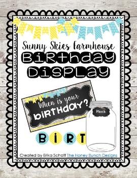 Sunny Skies Farmhouse Birthday Chart Editable